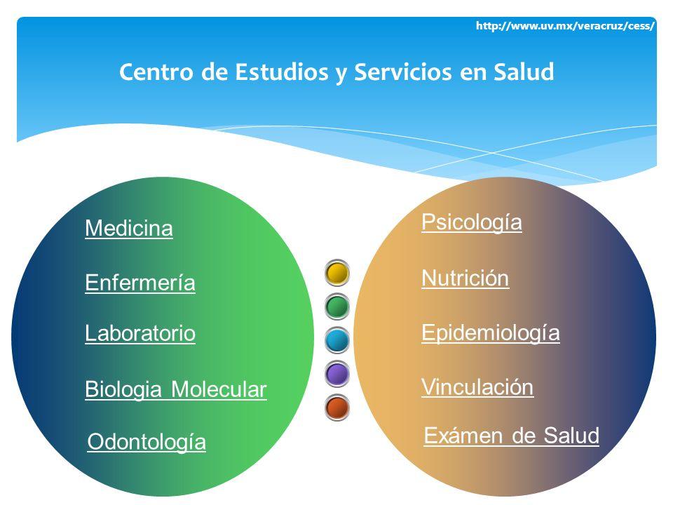 http://www.uv.mx/veracruz/cess/ Centro de Estudios y Servicios en Salud Psicología Nutrición Epidemiología Vinculación Medicina Enfermería Laboratorio