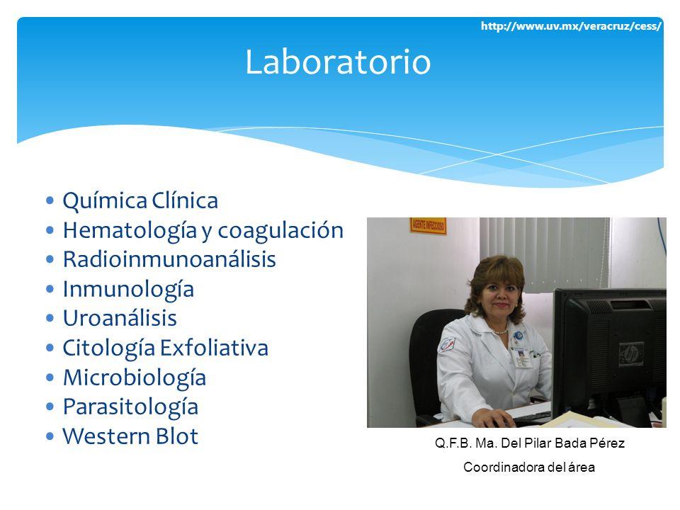 http://www.uv.mx/veracruz/cess/ Química Clínica Hematología y coagulación Radioinmunoanálisis Inmunología Uroanálisis Citología Exfoliativa Microbiolo