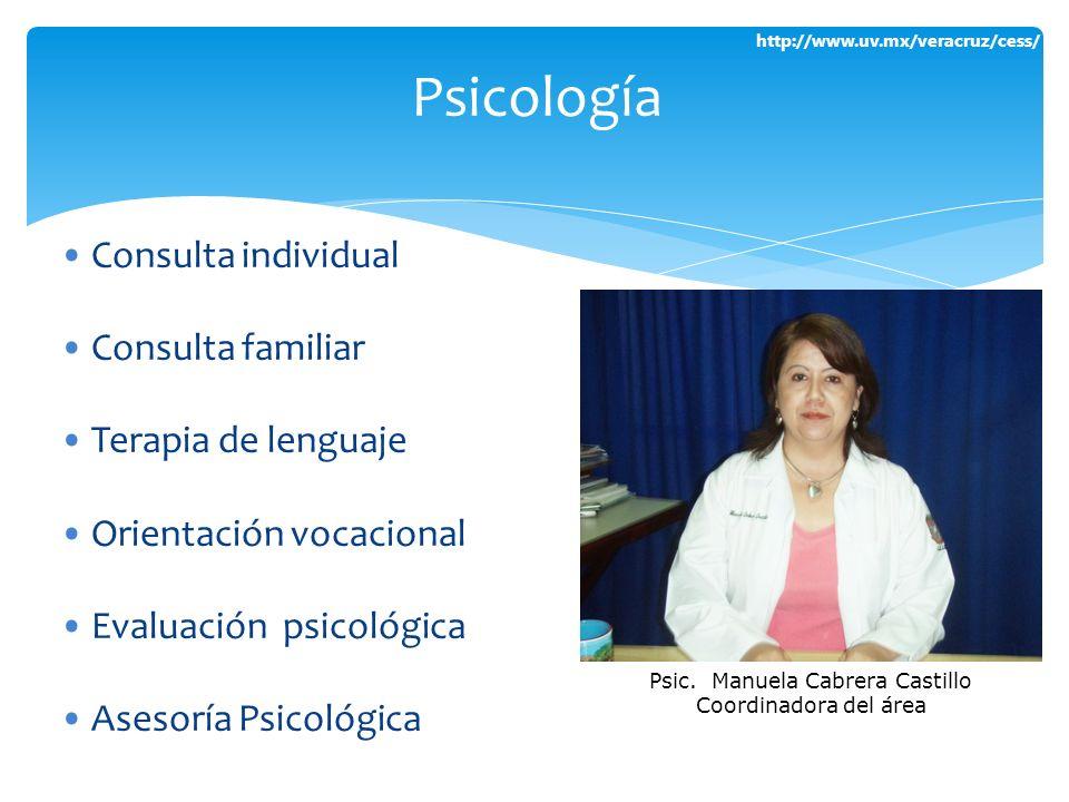http://www.uv.mx/veracruz/cess/ Consulta individual Consulta familiar Terapia de lenguaje Orientación vocacional Evaluación psicológica Asesoría Psico