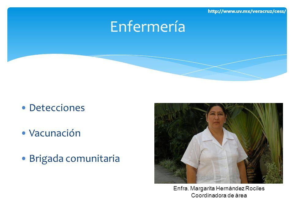 http://www.uv.mx/veracruz/cess/ Detecciones Vacunación Brigada comunitaria Enfermería Enfra. Margarita Hernández Rociles Coordinadora de área