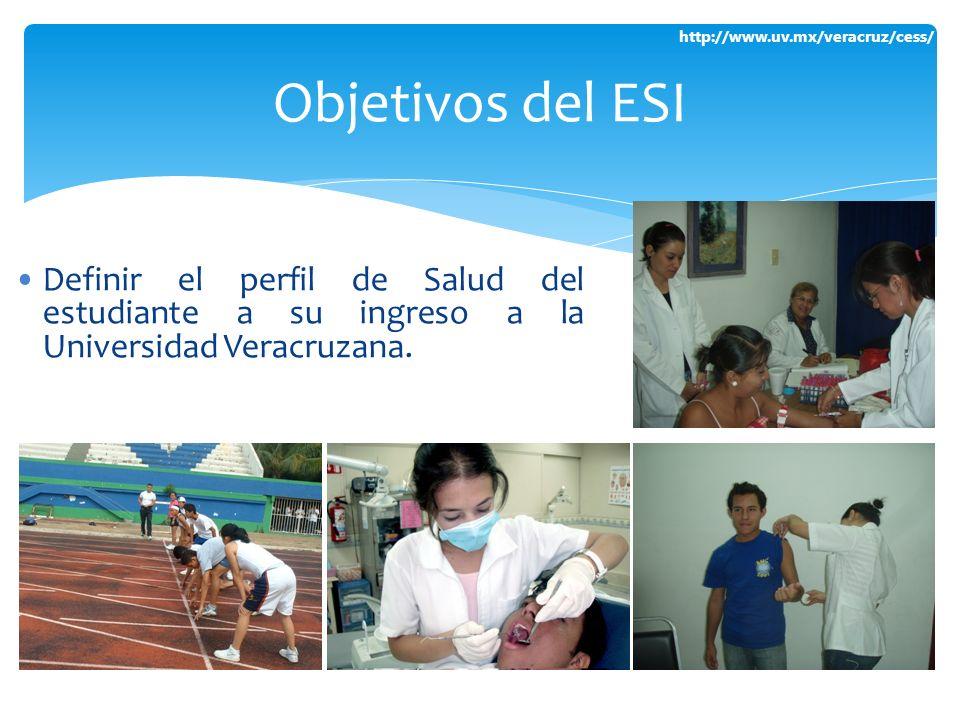 http://www.uv.mx/veracruz/cess/ Definir el perfil de Salud del estudiante a su ingreso a la Universidad Veracruzana. Objetivos del ESI