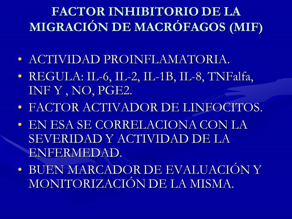 FACTOR INHIBITORIO DE LA MIGRACIÓN DE MACRÓFAGOS (MIF) ACTIVIDAD PROINFLAMATORIA.ACTIVIDAD PROINFLAMATORIA. REGULA: IL-6, IL-2, IL-1B, IL-8, TNFalfa,
