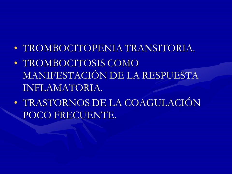 TROMBOCITOPENIA TRANSITORIA.TROMBOCITOPENIA TRANSITORIA. TROMBOCITOSIS COMO MANIFESTACIÓN DE LA RESPUESTA INFLAMATORIA.TROMBOCITOSIS COMO MANIFESTACIÓ