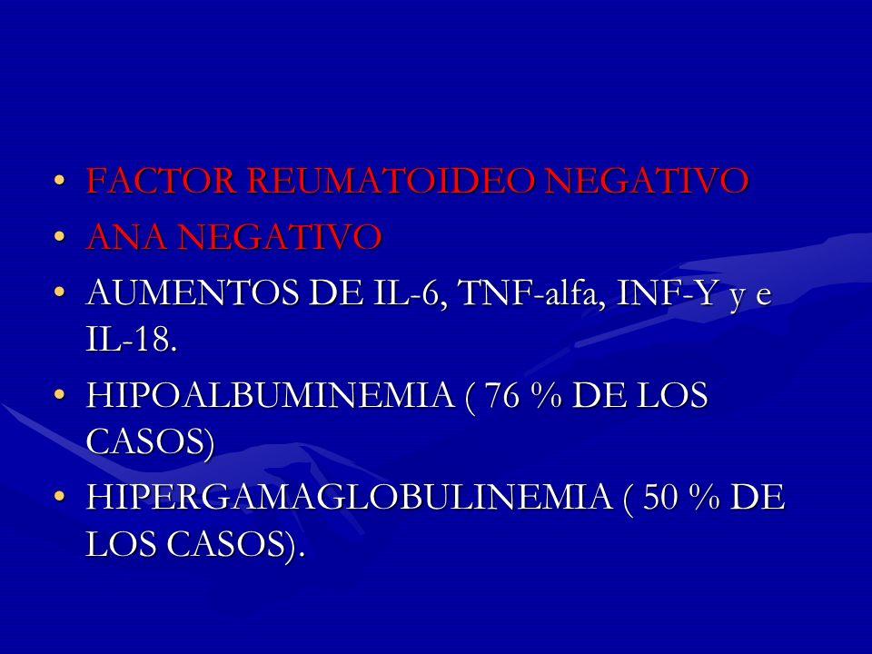 FACTOR REUMATOIDEO NEGATIVOFACTOR REUMATOIDEO NEGATIVO ANA NEGATIVOANA NEGATIVO AUMENTOS DE IL-6, TNF-alfa, INF-Y y e IL-18.AUMENTOS DE IL-6, TNF-alfa