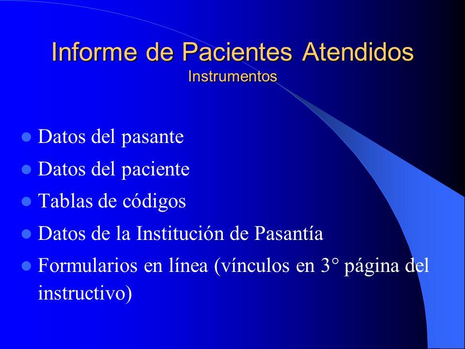 Informe de Pacientes Atendidos Instrumentos Datos del pasante Datos del paciente Tablas de códigos Datos de la Institución de Pasantía Formularios en