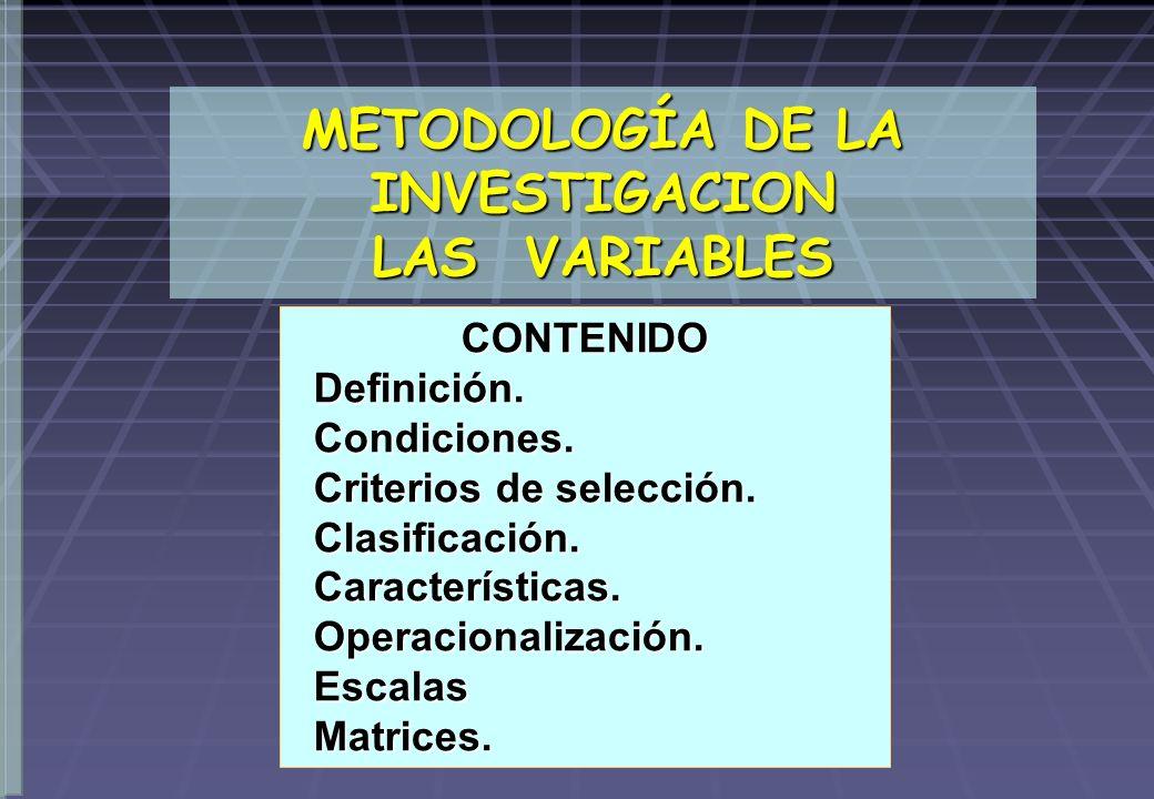 METODOLOGÍA DE LA INVESTIGACION LAS VARIABLES CONTENIDO Definición. Definición. Condiciones. Condiciones. Criterios de selección. Criterios de selecci