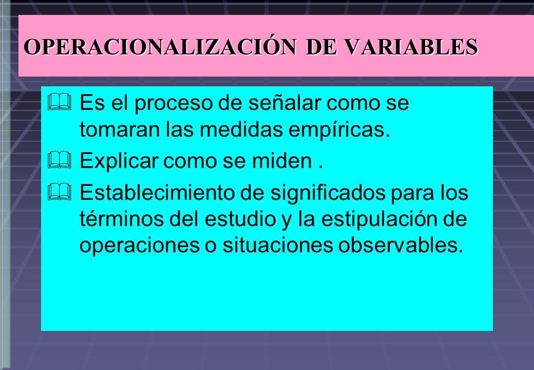 OPERACIONALIZACIÓN DE VARIABLES Es el proceso de señalar como se tomaran las medidas empíricas. Explicar como se miden. Establecimiento de significado