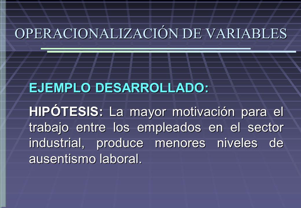 OPERACIONALIZACIÓN DE VARIABLES EJEMPLO DESARROLLADO: HIPÓTESIS: La mayor motivación para el trabajo entre los empleados en el sector industrial, prod