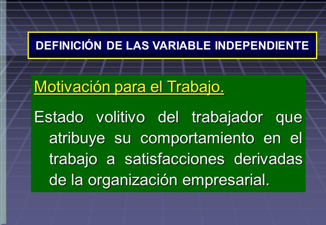 DEFINICIÓN DE LAS VARIABLE INDEPENDIENTE Motivación para el Trabajo. Estado volitivo del trabajador que atribuye su comportamiento en el trabajo a sat