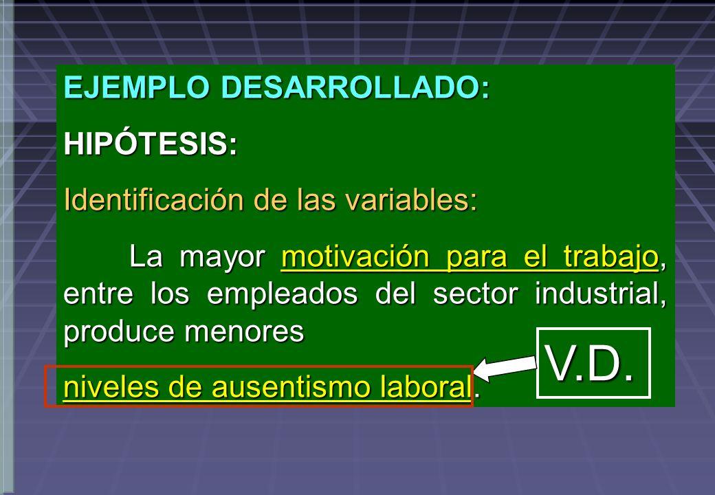 EJEMPLO DESARROLLADO: HIPÓTESIS: Identificación de las variables: La mayor motivación para el trabajo, entre los empleados del sector industrial, prod