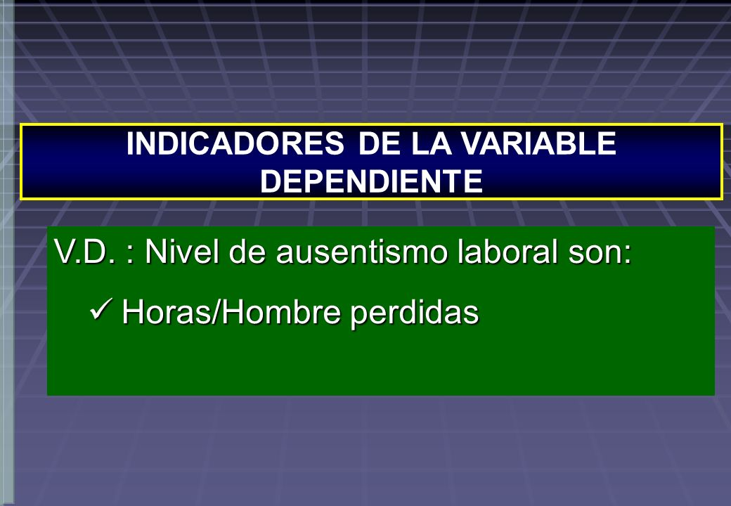 INDICADORES DE LA VARIABLE DEPENDIENTE V.D.