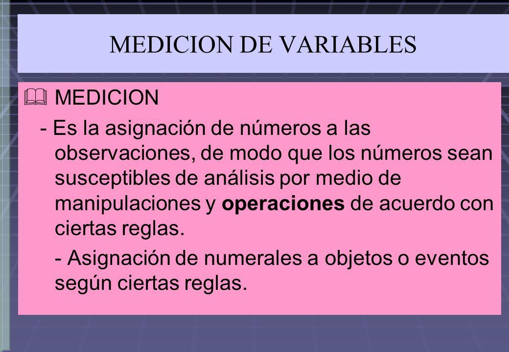 MEDICION DE VARIABLES MEDICION - Es la asignación de números a las observaciones, de modo que los números sean susceptibles de análisis por medio de m