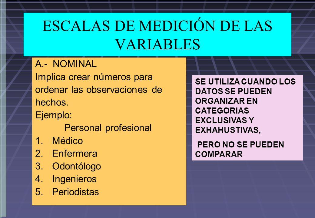 ESCALAS DE MEDICIÓN DE LAS VARIABLES A.- NOMINAL Implica crear números para ordenar las observaciones de hechos. Ejemplo: Personal profesional 1.Médic