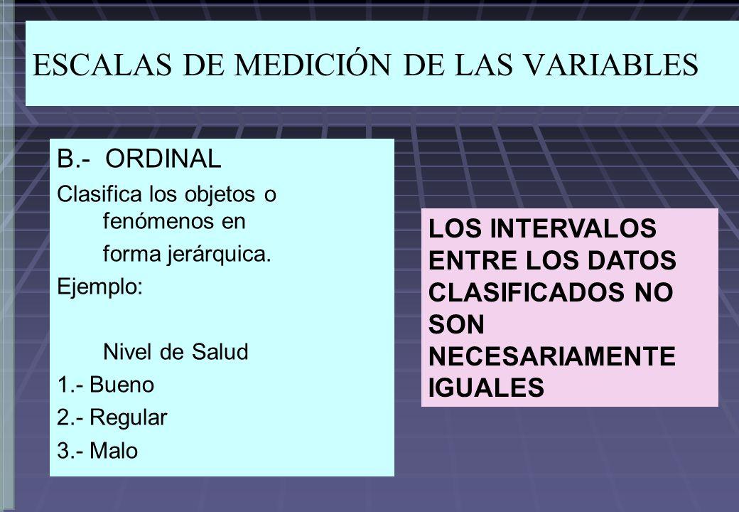 ESCALAS DE MEDICIÓN DE LAS VARIABLES B.- ORDINAL Clasifica los objetos o fenómenos en forma jerárquica. Ejemplo: Nivel de Salud 1.- Bueno 2.- Regular