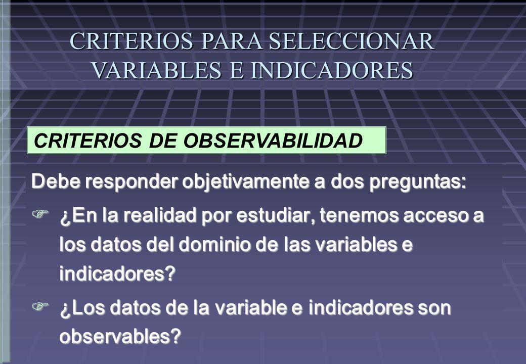 CRITERIOS DE OBSERVABILIDAD Debe responder objetivamente a dos preguntas: ¿En la realidad por estudiar, tenemos acceso a los datos del dominio de las