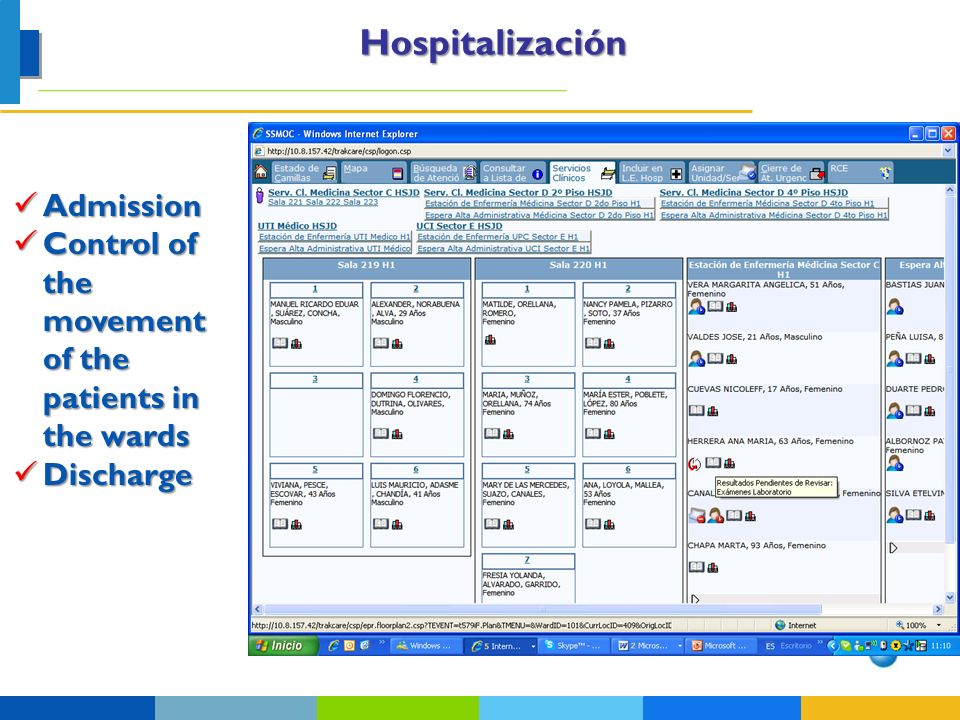 Hospitalización Admission Admission Control of the movement of the patients in the wards Control of the movement of the patients in the wards Discharg