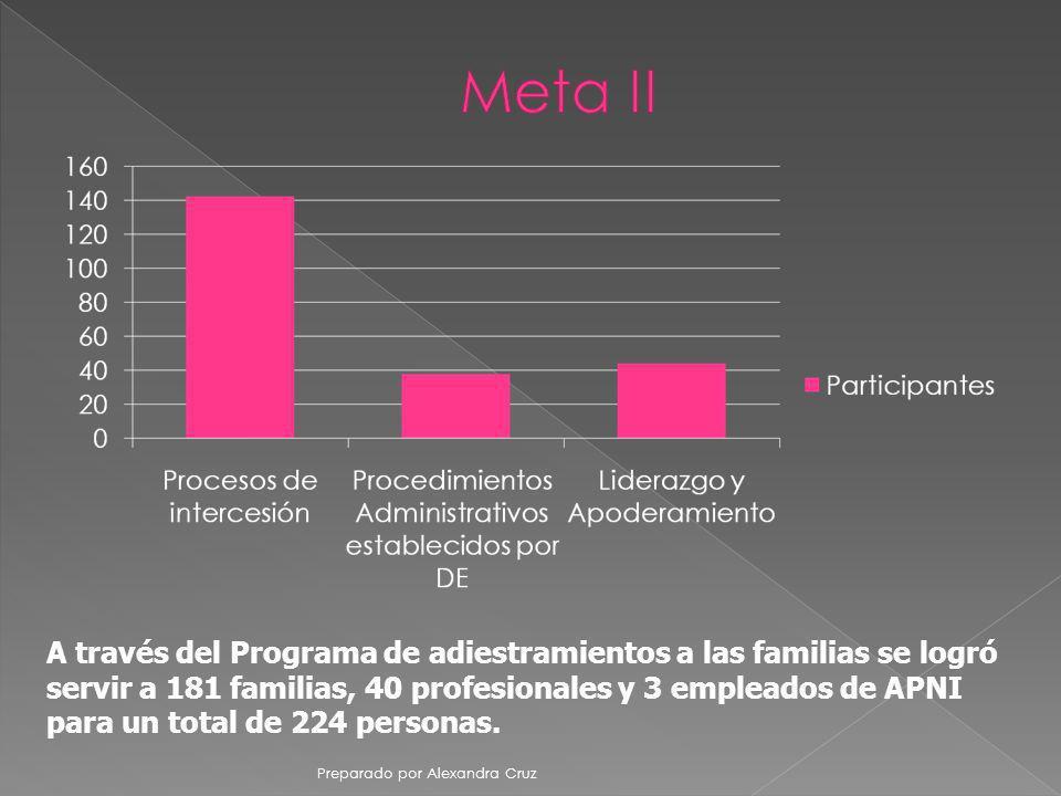 A través del Programa de adiestramientos a las familias se logró servir a 181 familias, 40 profesionales y 3 empleados de APNI para un total de 224 pe