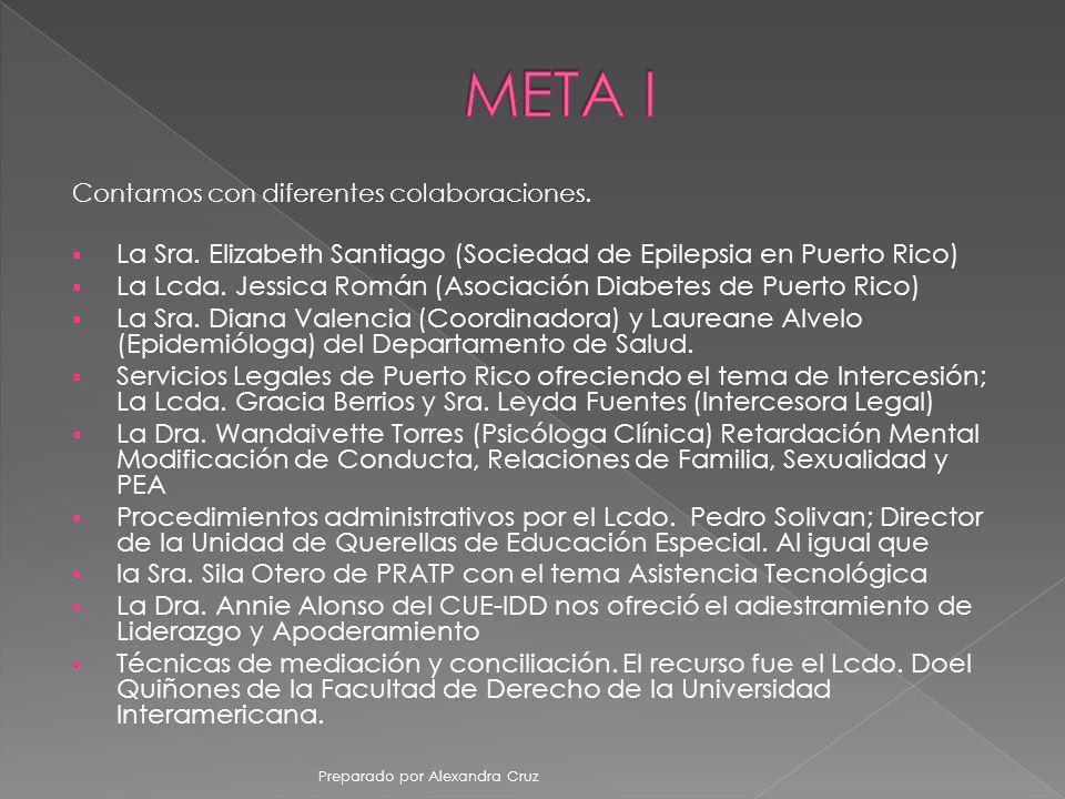Contamos con diferentes colaboraciones. La Sra. Elizabeth Santiago (Sociedad de Epilepsia en Puerto Rico) La Lcda. Jessica Román (Asociación Diabetes