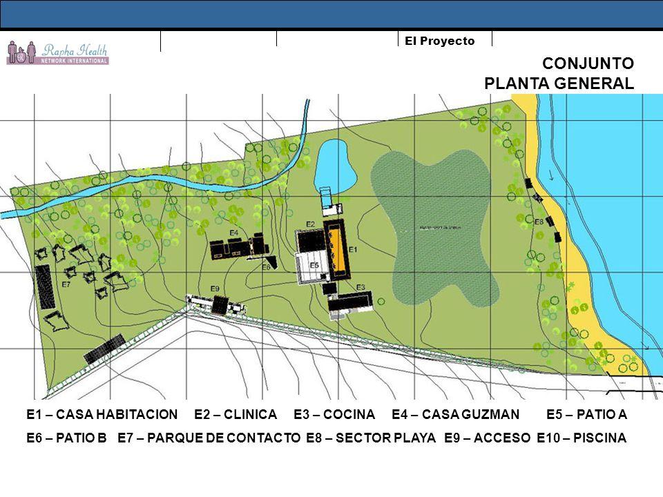El Proyecto CONJUNTO PLANTA GENERAL E1 – CASA HABITACION E2 – CLINICA E3 – COCINA E4 – CASA GUZMAN E5 – PATIO A E6 – PATIO B E7 – PARQUE DE CONTACTO E8 – SECTOR PLAYA E9 – ACCESO E10 – PISCINA