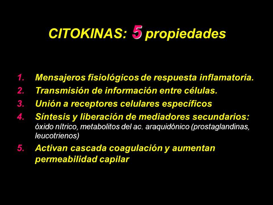 5 CITOKINAS: 5 propiedades 1.Mensajeros fisiológicos de respuesta inflamatoria.