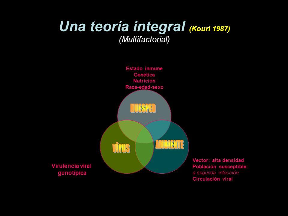 Una teoría integral (Kourí 1987) (Multifactorial) Estado inmune Genética Nutrición Raza-edad-sexo Vector: alta densidad Población susceptible: a segun