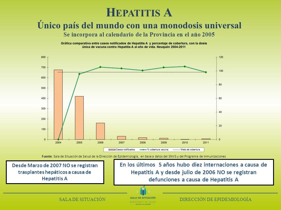 H EPATITIS A Único país del mundo con una monodosis universal Se incorpora al calendario de la Provincia en el año 2005 Fuente: Sala de Situación de S