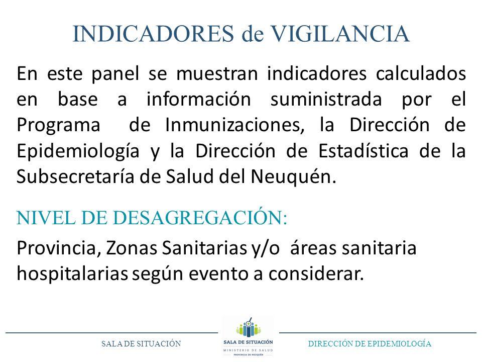 INDICADORES de VIGILANCIA En este panel se muestran indicadores calculados en base a información suministrada por el Programa de Inmunizaciones, la Di