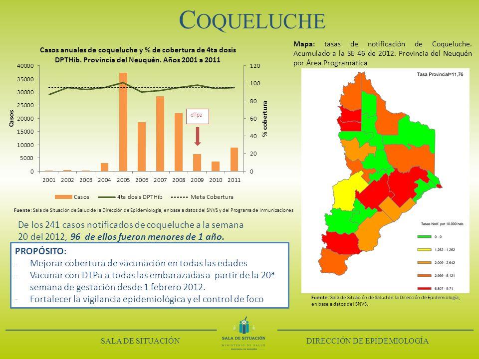 C OQUELUCHE Mapa: tasas de notificación de Coqueluche. Acumulado a la SE 46 de 2012. Provincia del Neuquén por Área Programática De los 241 casos noti
