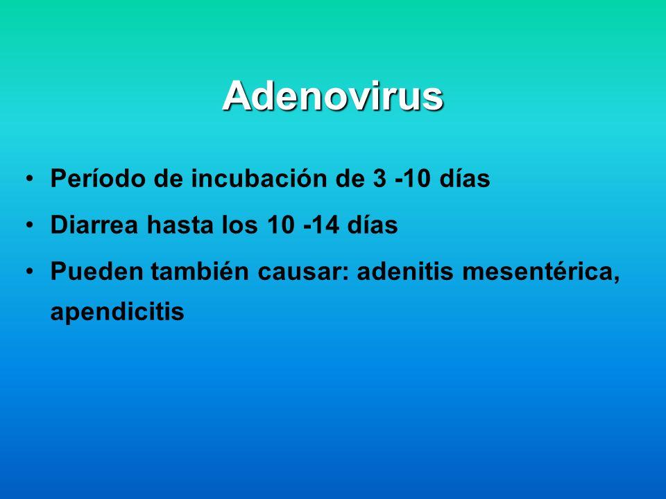 Adenovirus Período de incubación de 3 -10 días Diarrea hasta los 10 -14 días Pueden también causar: adenitis mesentérica, apendicitis