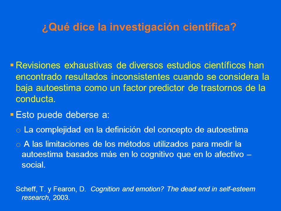 ¿Qué dice la investigación científica? Revisiones exhaustivas de diversos estudios científicos han encontrado resultados inconsistentes cuando se cons