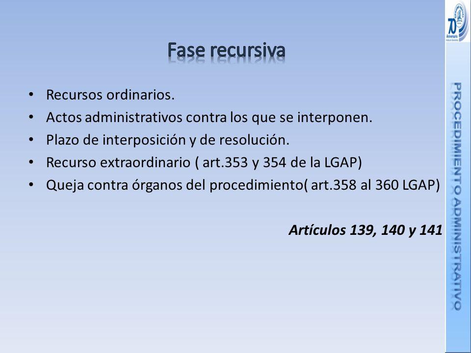 Recursos ordinarios.Actos administrativos contra los que se interponen.