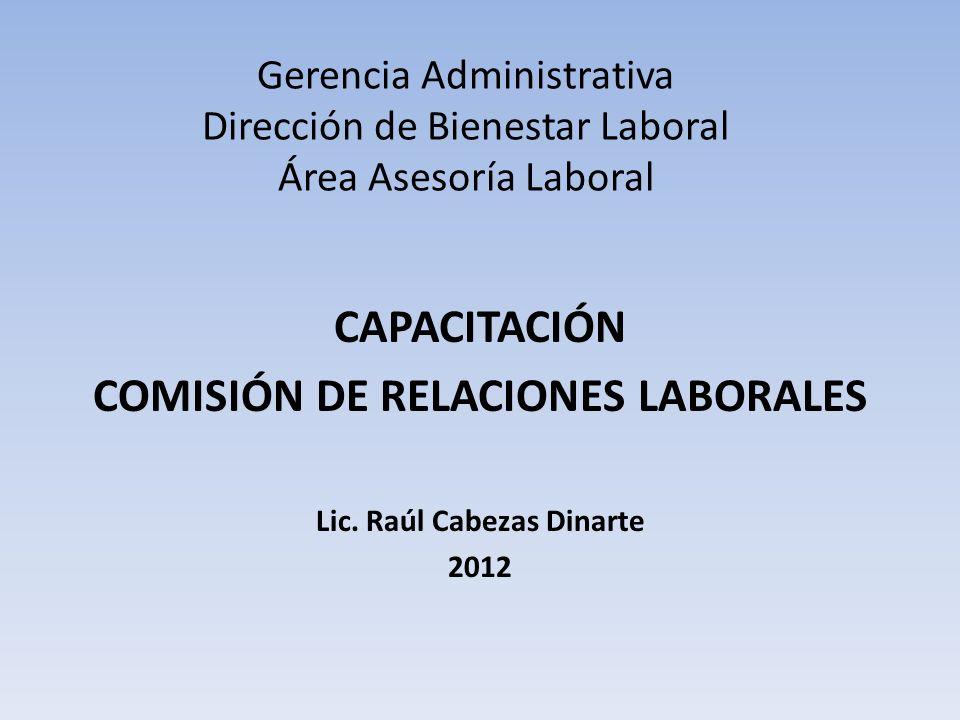 Gerencia Administrativa Dirección de Bienestar Laboral Área Asesoría Laboral CAPACITACIÓN COMISIÓN DE RELACIONES LABORALES Lic.