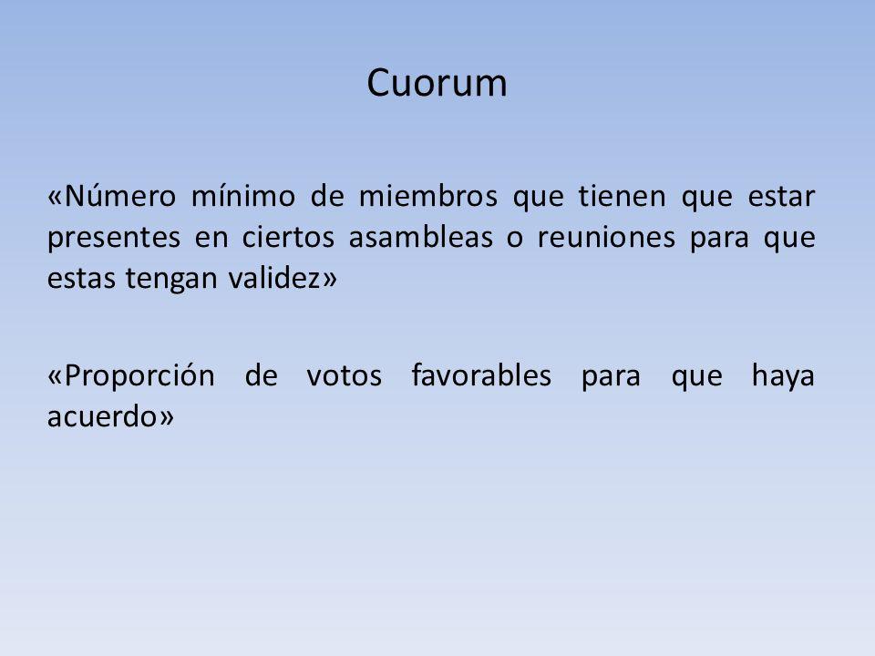 Cuorum «Número mínimo de miembros que tienen que estar presentes en ciertos asambleas o reuniones para que estas tengan validez» «Proporción de votos favorables para que haya acuerdo»