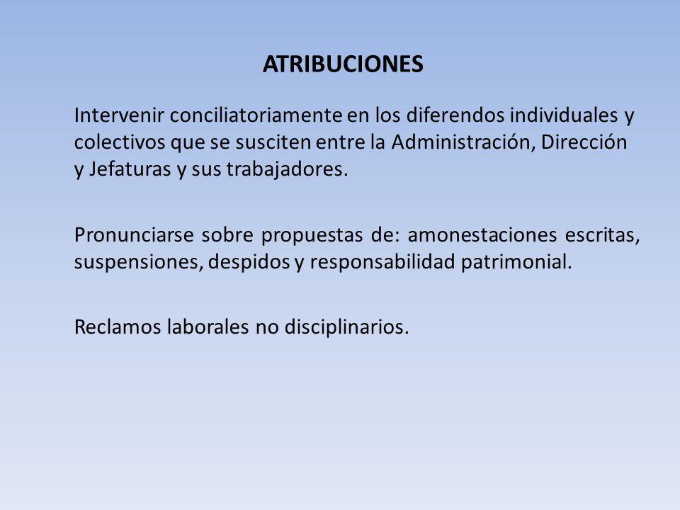 ATRIBUCIONES Intervenir conciliatoriamente en los diferendos individuales y colectivos que se susciten entre la Administración, Dirección y Jefaturas y sus trabajadores.
