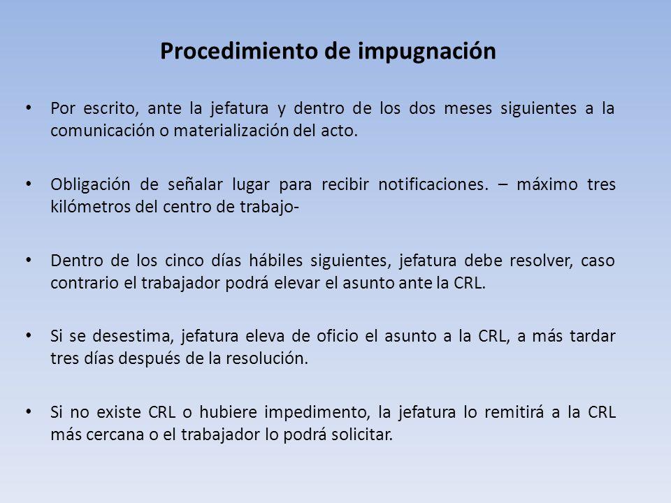 Procedimiento de impugnación Por escrito, ante la jefatura y dentro de los dos meses siguientes a la comunicación o materialización del acto.