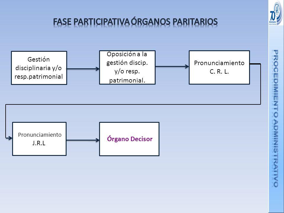 Gestión disciplinaria y/o resp.patrimonial Oposición a la gestión discip.