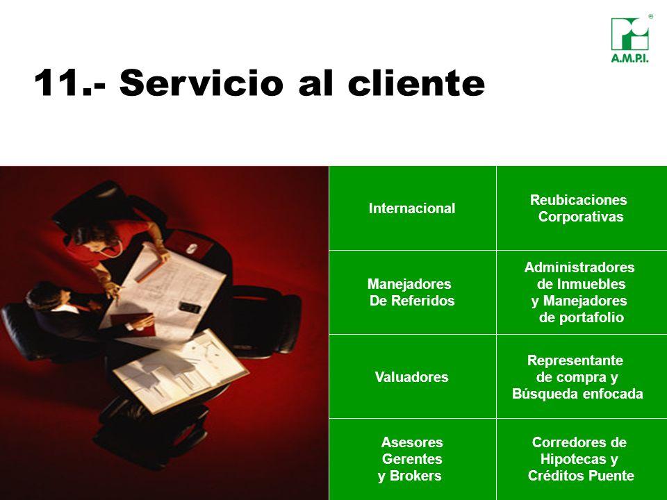 11.- Servicio al cliente Internacional Reubicaciones Corporativas Manejadores De Referidos Administradores de Inmuebles y Manejadores de portafolio As