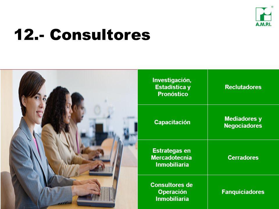 12.- Consultores Investigación, Estadística y Pronóstico Mediadores y Negociadores Cerradores Consultores de Operación Inmobiliaria Fanquiciadores Rec
