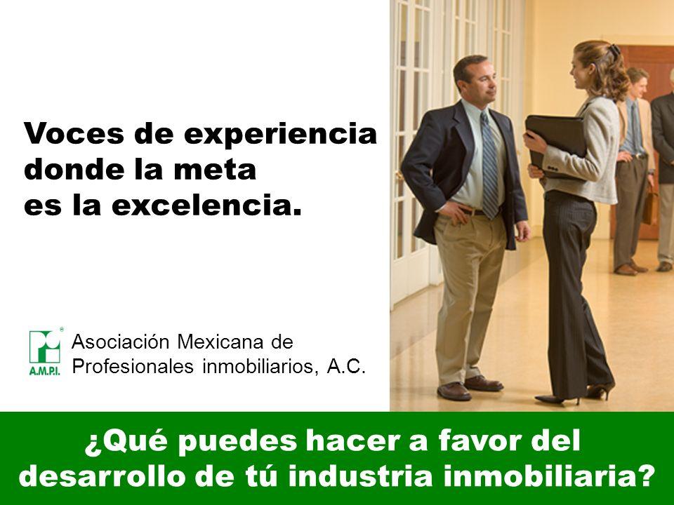¿Qué puedes hacer a favor del desarrollo de tú industria inmobiliaria? Asociación Mexicana de Profesionales inmobiliarios, A.C. Voces de experiencia d