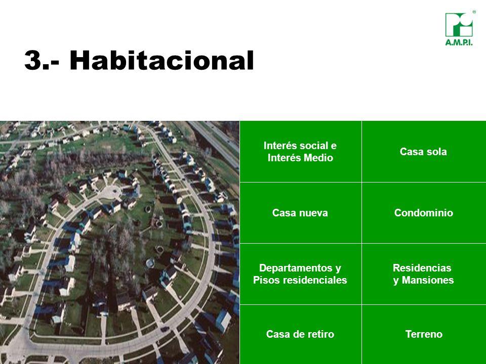3.- Habitacional Casa sola Casa nuevaCondominio Departamentos y Pisos residenciales Casa de retiroTerreno Residencias y Mansiones Interés social e Int
