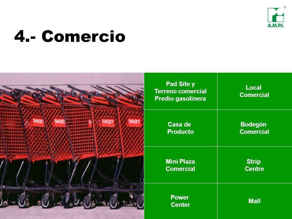 4.- Comercio Pad Site y Terreno comercial Predio gasolinera Local Comercial Casa de Producto Bodegón Comercial Power Center Mall Strip Centre Mini Pla