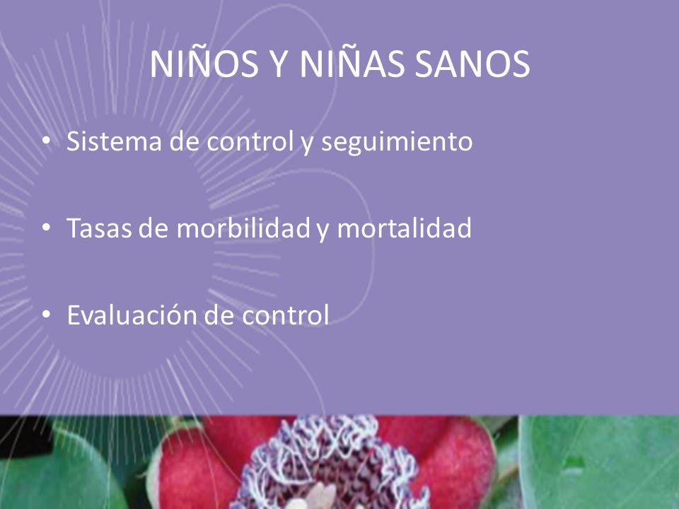 Sistema de control y seguimiento Tasas de morbilidad y mortalidad Evaluación de control NIÑOS Y NIÑAS SANOS