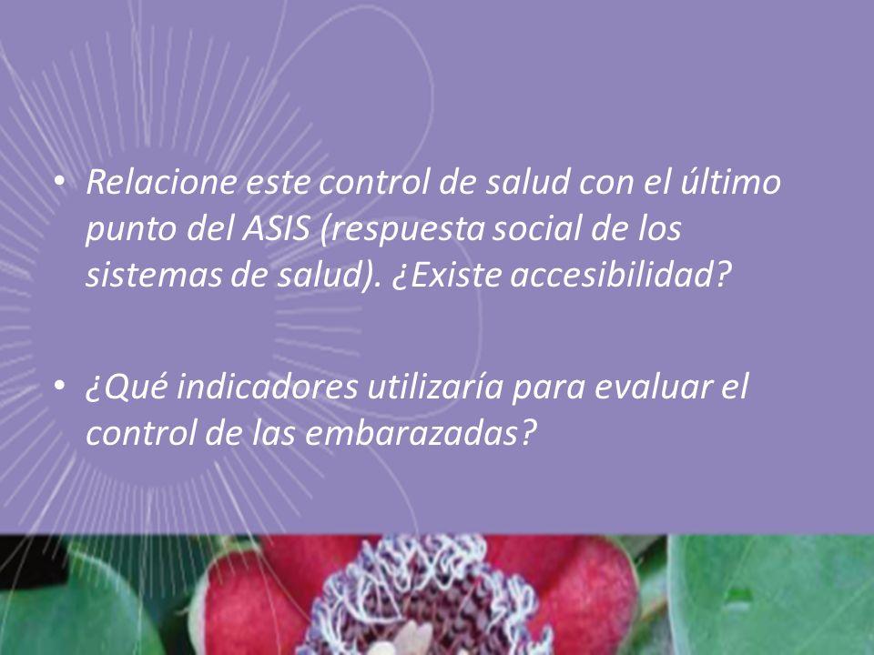 Relacione este control de salud con el último punto del ASIS (respuesta social de los sistemas de salud).