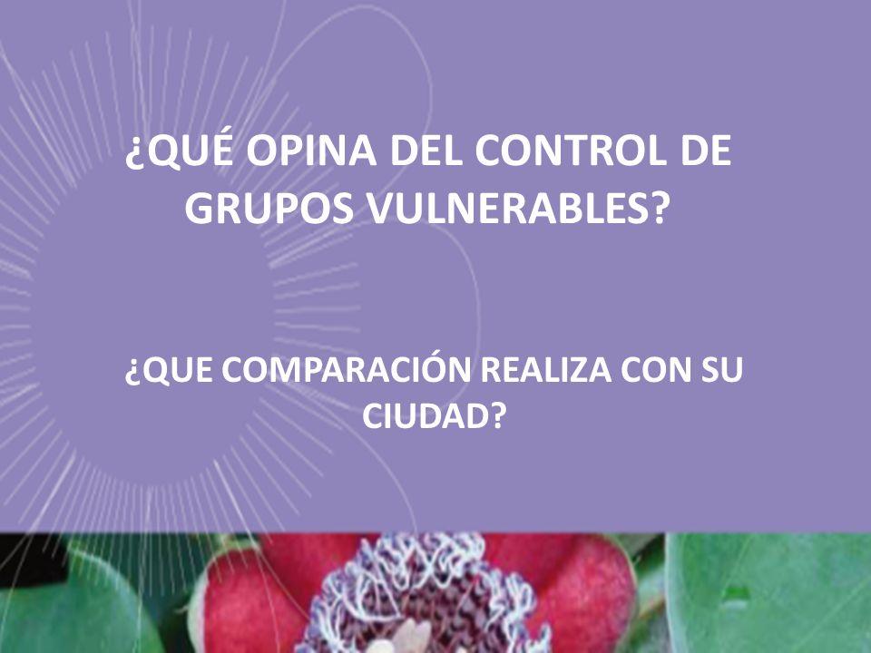 ¿QUÉ OPINA DEL CONTROL DE GRUPOS VULNERABLES? ¿QUE COMPARACIÓN REALIZA CON SU CIUDAD?