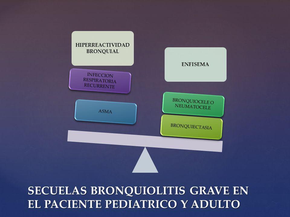 HIPERREACTIVIDAD BRONQUIAL ENFISEMA BRONQUIECTASIA BRONQUIOCELE O NEUMATOCELE ASMA INFECCION RESPIRATORIA RECURRENTE SECUELAS BRONQUIOLITIS GRAVE EN E