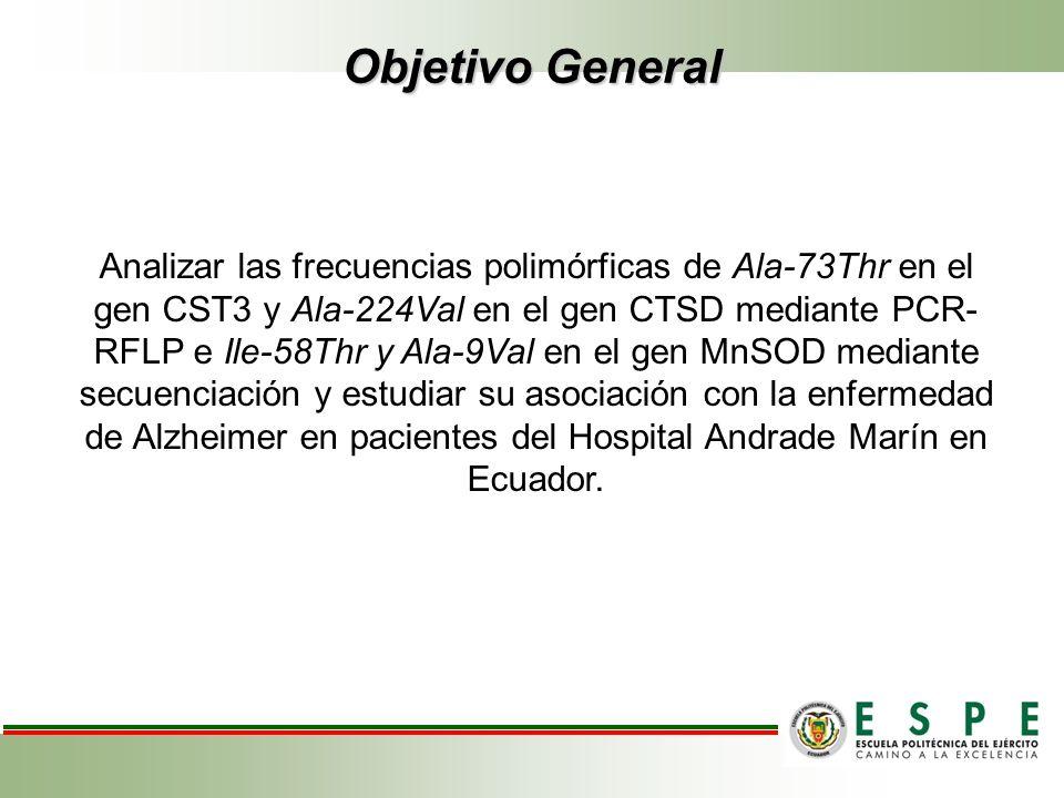 Objetivo General Analizar las frecuencias polimórficas de Ala-73Thr en el gen CST3 y Ala-224Val en el gen CTSD mediante PCR- RFLP e Ile-58Thr y Ala-9V