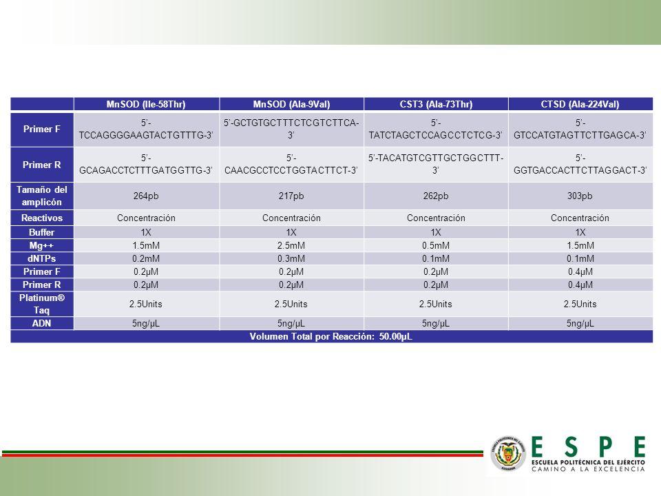 MnSOD (Ile-58Thr)MnSOD (Ala-9Val)CST3 (Ala-73Thr)CTSD (Ala-224Val) Primer F 5- TCCAGGGGAAGTACTGTTTG-3 5-GCTGTGCTTTCTCGTCTTCA- 3 5- TATCTAGCTCCAGCCTCTC