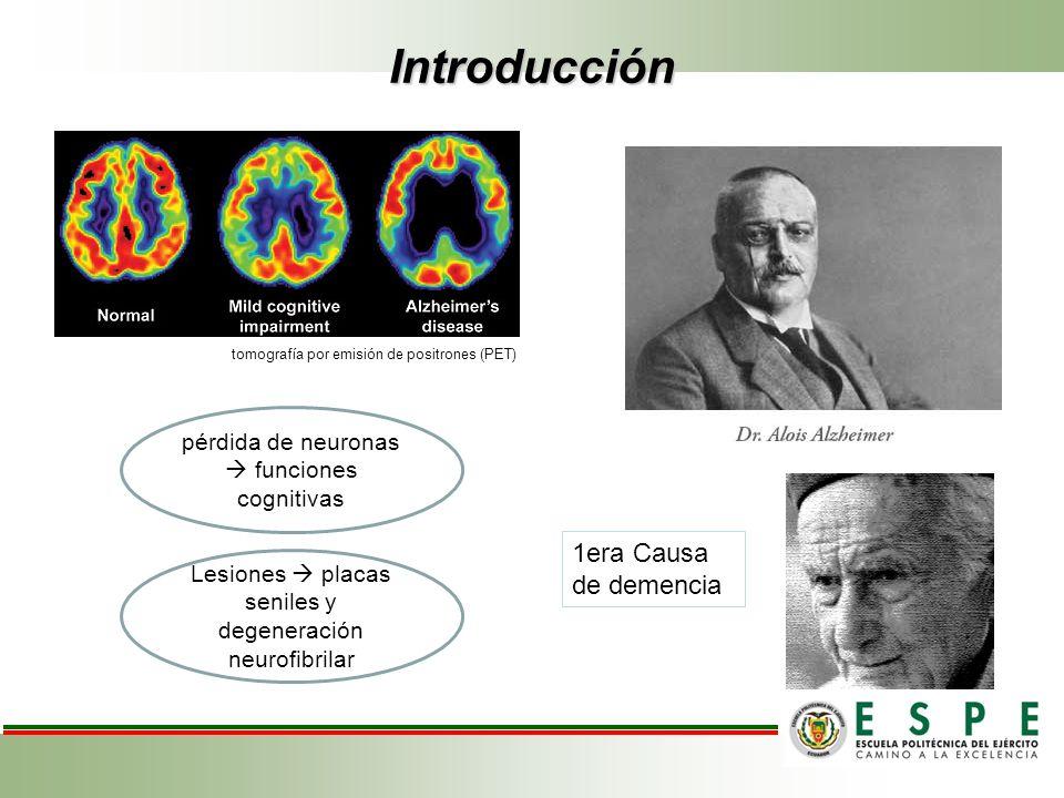 Introducción 1era Causa de demencia pérdida de neuronas funciones cognitivas Lesiones placas seniles y degeneración neurofibrilar tomografía por emisi