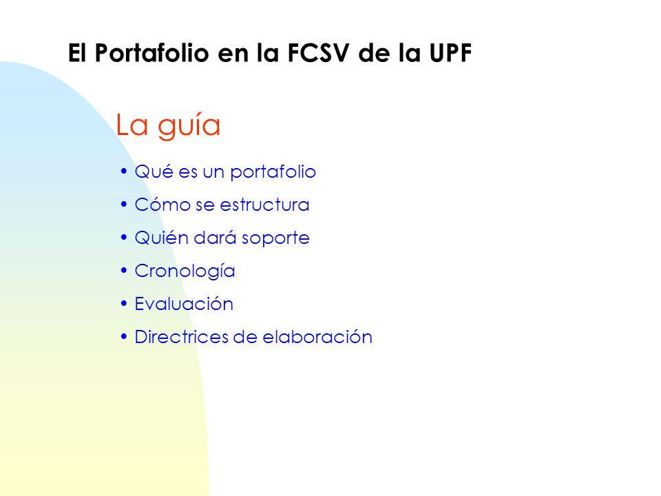 Qué es un portafolio Cómo se estructura Quién dará soporte Cronología Evaluación Directrices de elaboración El Portafolio en la FCSV de la UPF La guía