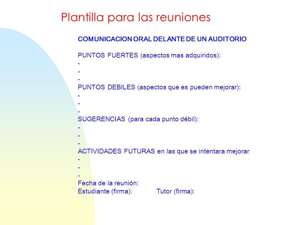 COMUNICACION ORAL DELANTE DE UN AUDITORIO PUNTOS FUERTES (aspectos mas adquiridos): - PUNTOS DEBILES (aspectos que es pueden mejorar): - SUGERENCIAS (